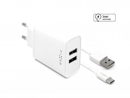 Set síťové nabíječky FIXED s 2xUSB výstupem a USB/USB-C kabelu, 1 metr, 15W Smart Rapid Charge, bílá