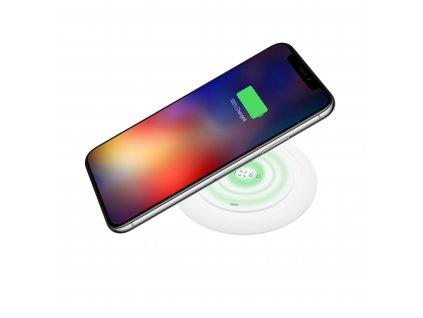 Podložka pro rychlé bezdrátové nabíjení telefonu FIXED Pad, 10W, bílá