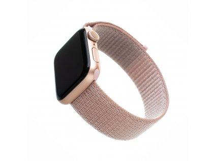 Nylonový řemínek FIXED Nylon Strap pro Apple Watch 44mm/ Watch 42mm, růžově zlatý