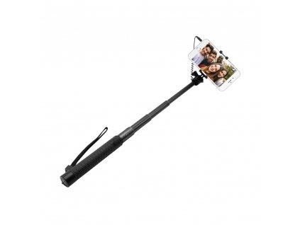 Teleskopický selfie stick FIXED v luxusním hliníkovém provedení, 3,5 mm jack, černý