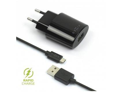 Set síťové nabíječky FIXED s USB výstupem a USB/micro USB kabelu, 1 metr, 12W, černá