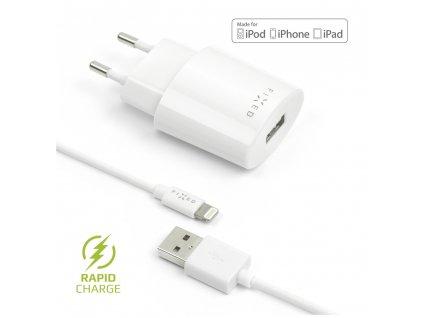 Set síťové nabíječky FIXED s USB výstupem a USB/Lightning kabelu, 1 metr, MFI certifikace, 12W, bílá