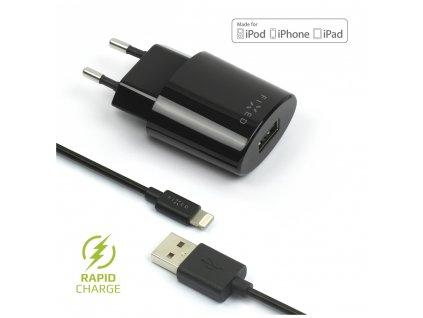 Set síťové nabíječky FIXED s USB výstupem a USB/Lightning kabelu, 1 metr, MFI certifikace, 12W, černá