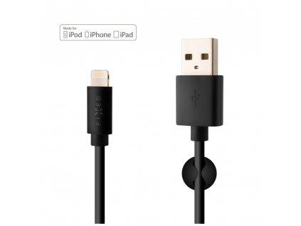 Datový a nabíjecí kabel FIXED s konektory USB/Lightning, 1 metr, MFI certifikace, 12W, černý