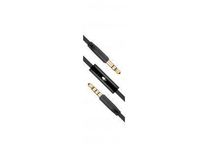Plochý audio AUX kabel FIXED s konektory 2 x 3,5 mm jack s mikrofonem, černý
