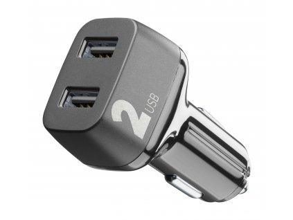 Autonabíječka Cellularline Car Multipower 2 s technologií Smartphone Detect, 2 x USB port, 24W, černá