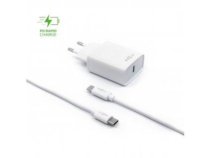 Set síťové nabíječky FIXED s USB-C výstupem a USB-C/USB-C kabelu, podpora PD, 1 metr, 18W, bílý