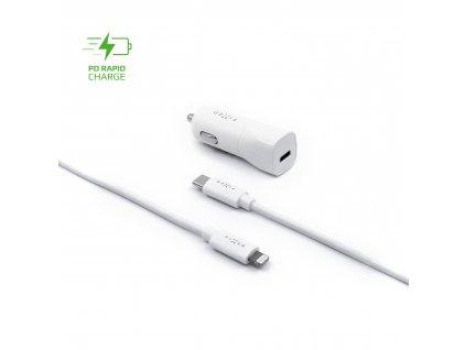 Set autonabíječky FIXED s USB-C výstupem a USB-C/Lightning kabelu, podpora PD, 1 metr, MFI, 18W, bílý