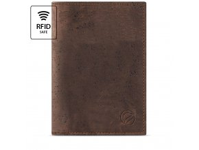 Passport Wallet Brown Cork Front RFID