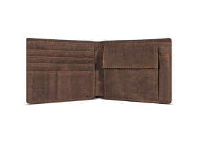 Cork Wallet With Coin Pocket Brown Inside