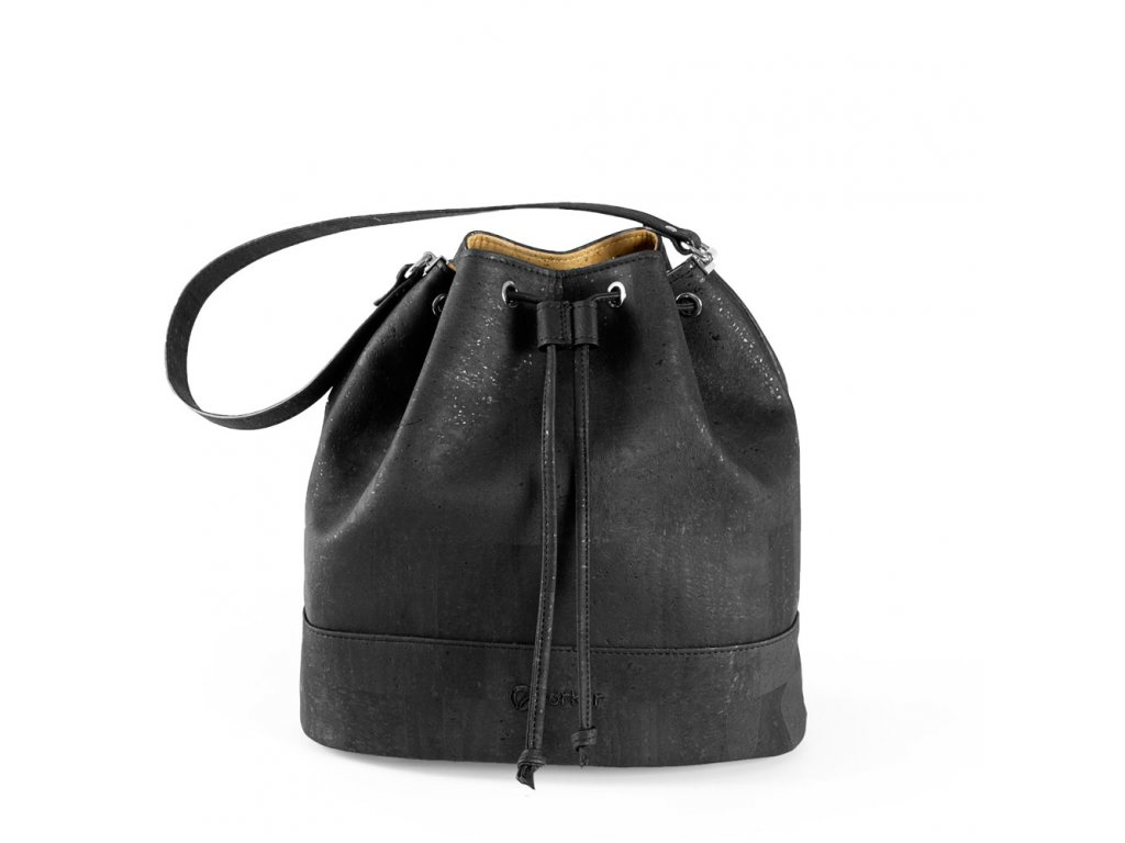 cork bucket bag black front