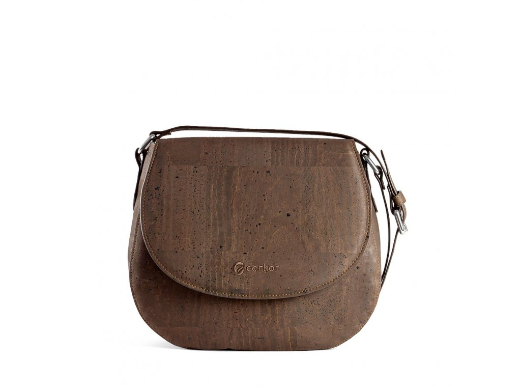cork saddle bag brown front
