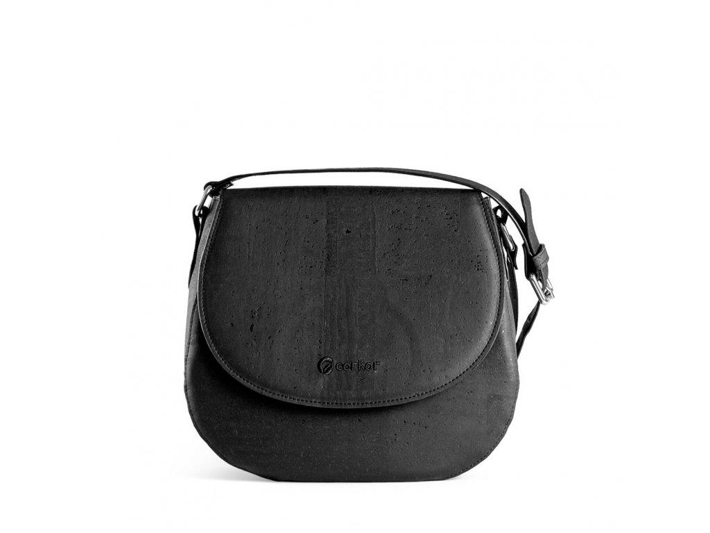 cork saddle bag black front