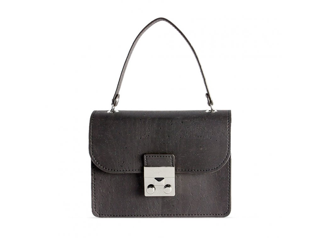 cork mini bag black front