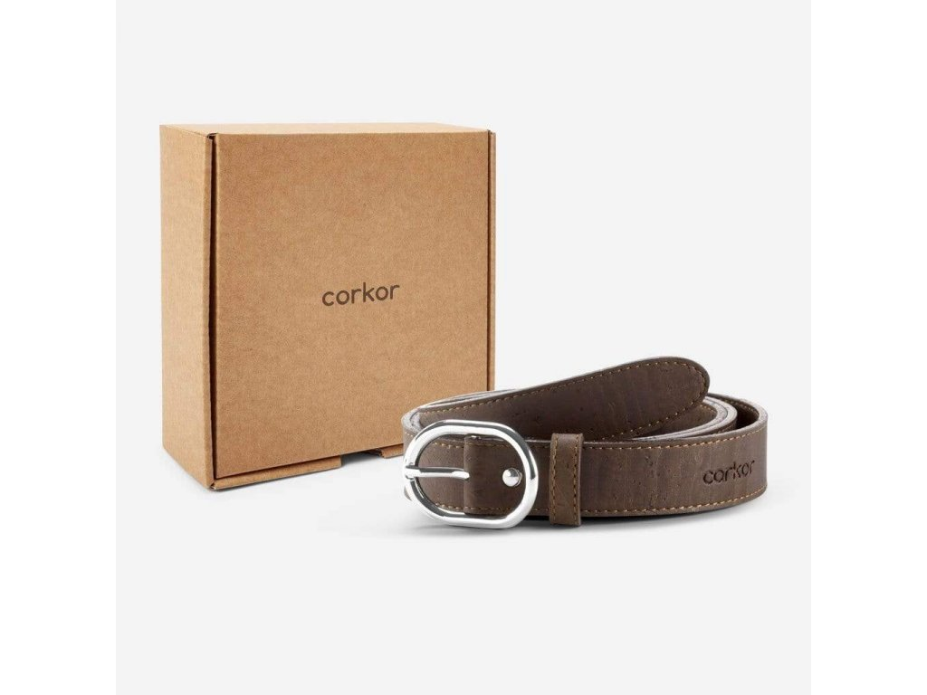Women Cork Belt Brown Fronti