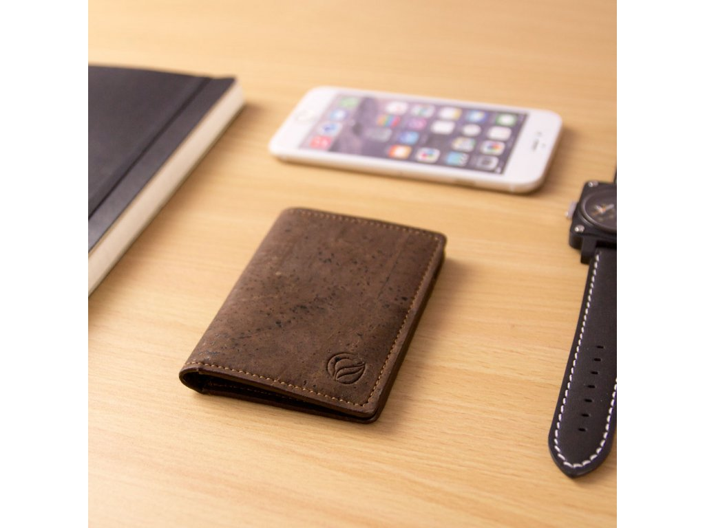 vegan wallet rfid brown table
