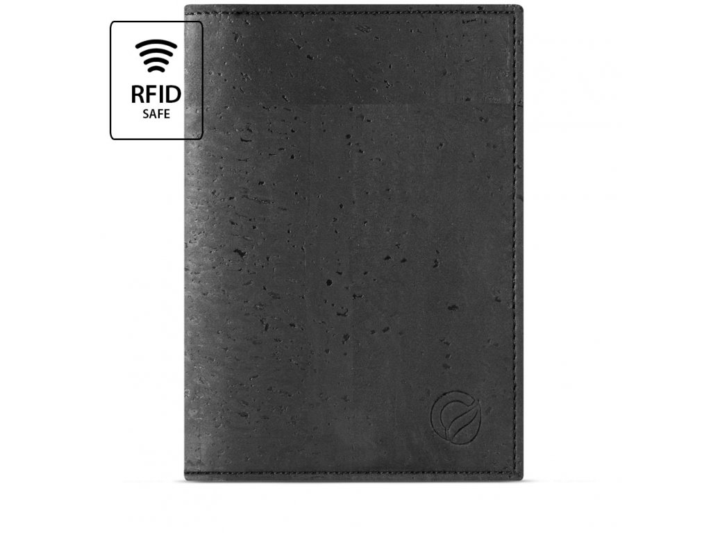 Passport Wallet Black Cork Front RFID