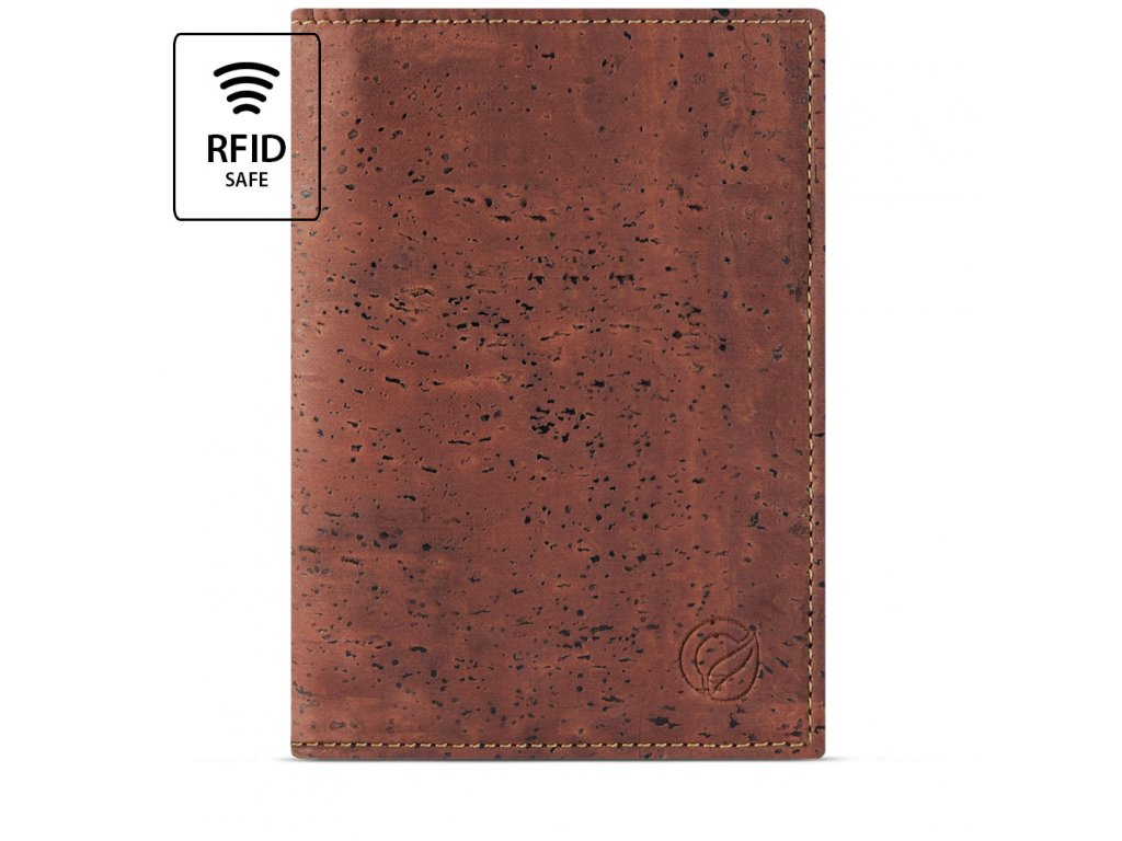 Passport Wallet Red Cork Front RFID