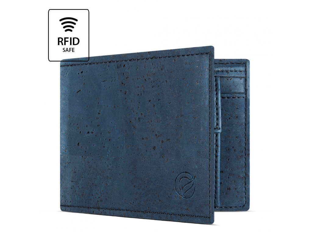 Cork Wallet With Coin Pocket Blue Open