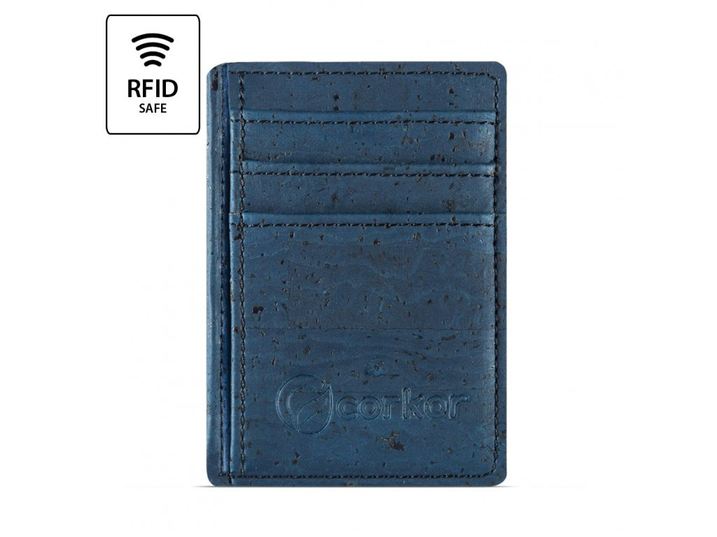 Front Pocket Cork Wallet Blue Front