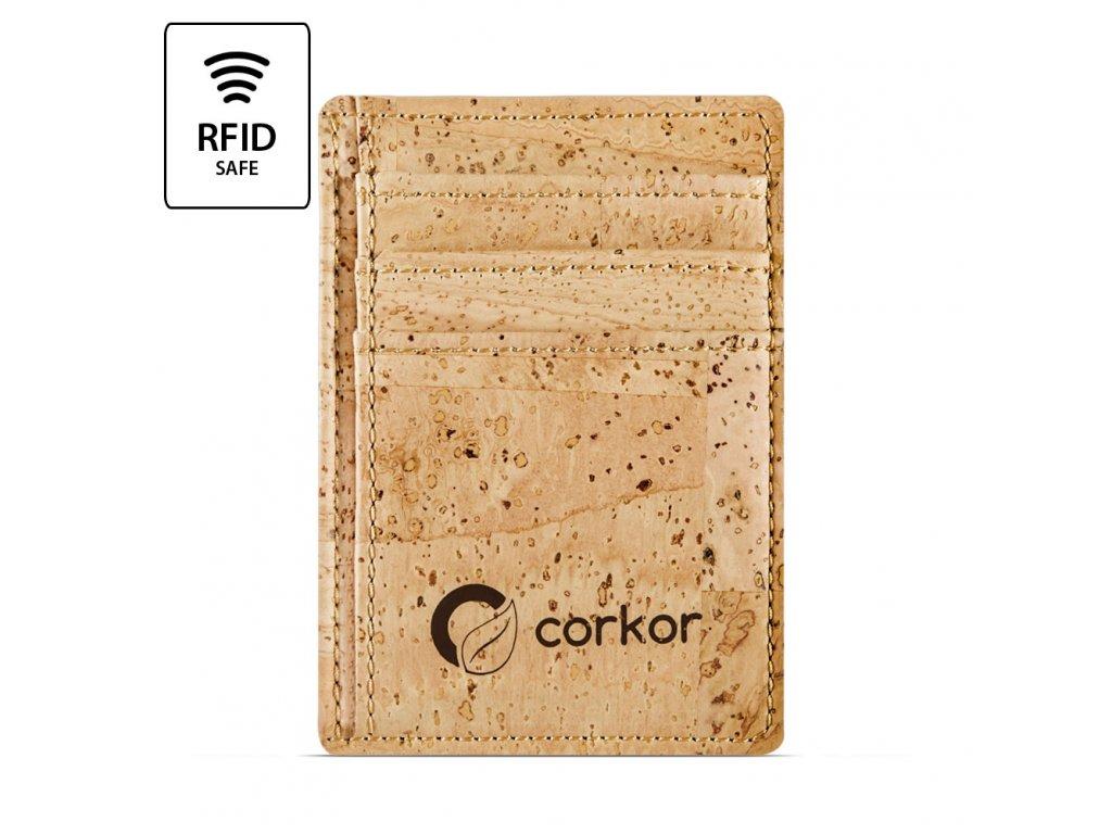 Front Pocket Cork Wallet Light Brown Front