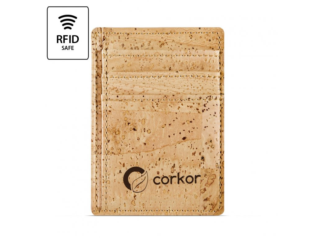 Front Pocket Cork Wallet Light Brown Front