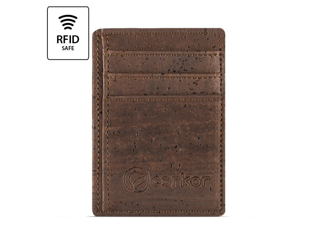 Front Pocket Cork Wallet Brown Front