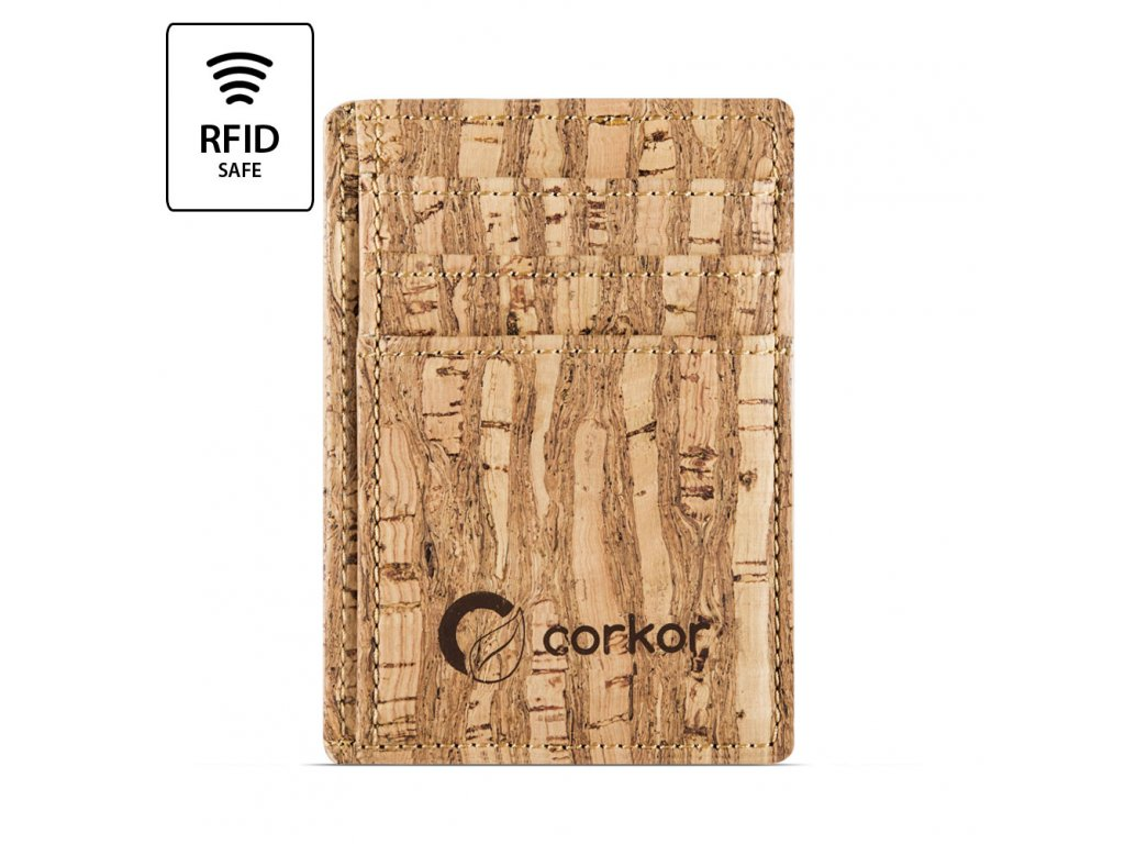 Front Pocket Cork Wallet Zebra Front