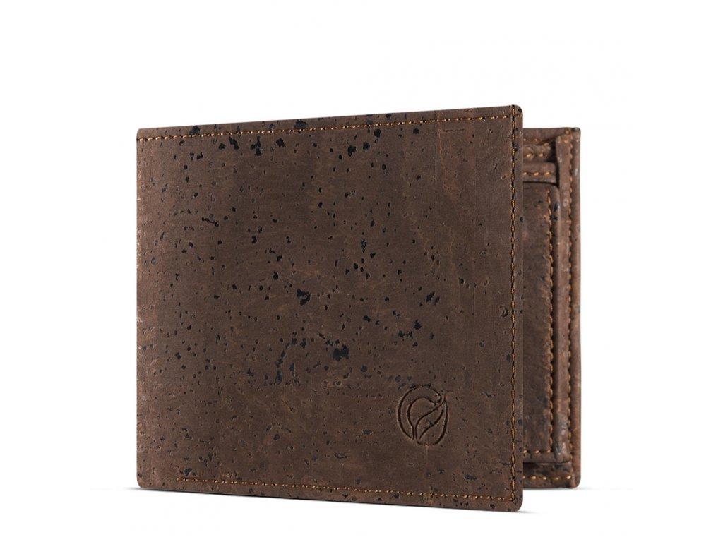 vegan passcase wallet brown open
