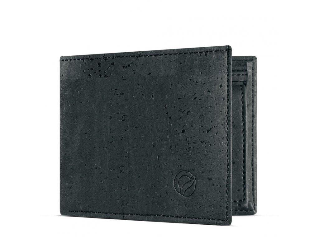 vegan passcase wallet black open