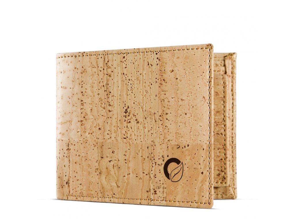 vegan passcase wallet light brown open