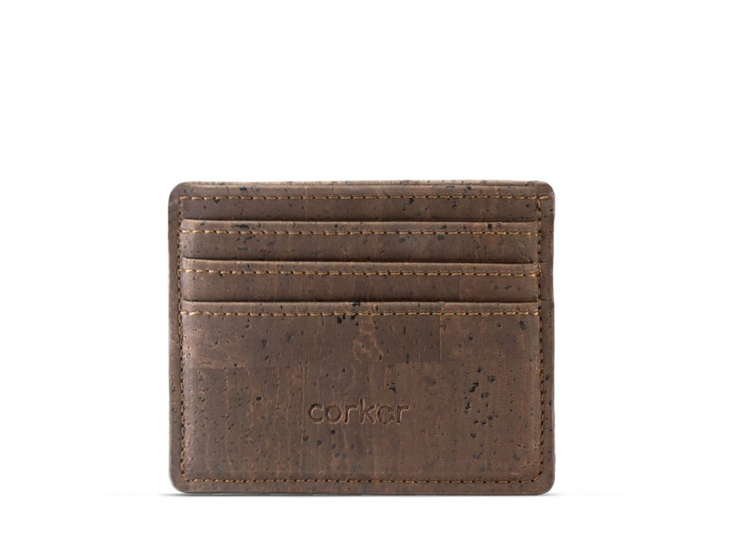 card case wallet brown front