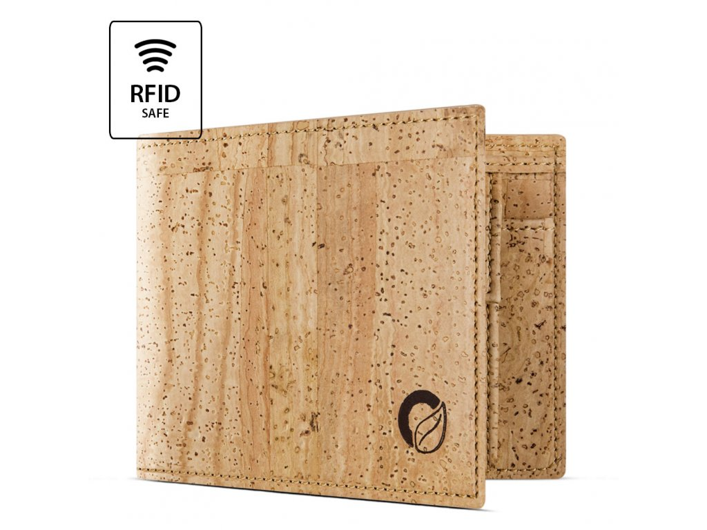 Cork Wallet With Coin Pocket Light Brown Open