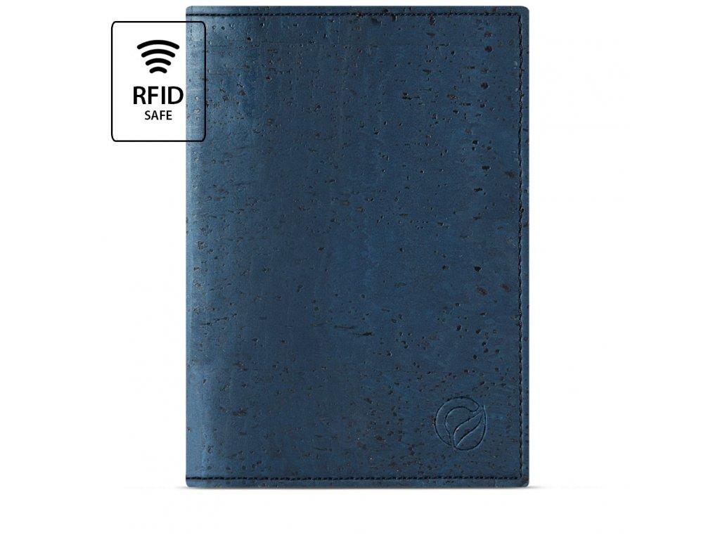 Passport Wallet Blue Cork Front RFID