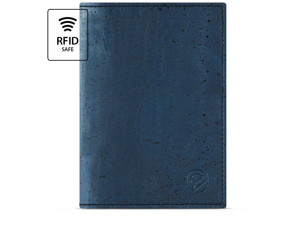 Passport Wallet Blue Cork Front RFID