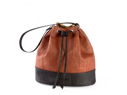 cork bucket bag red front