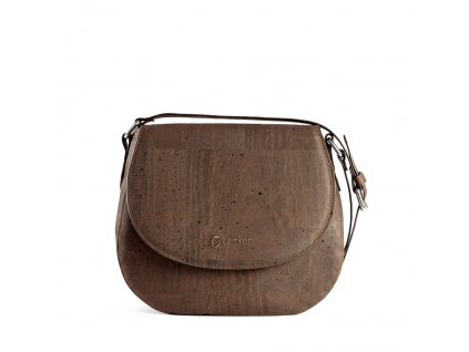 cork saddle bag brown front