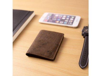vegan wallet rfid brown table