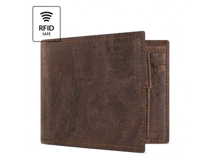 Cork Wallet With Coin Pocket Brown Open