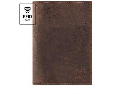 Passport Wallet Brown Cork Front RFID