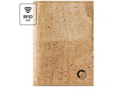 Passport Wallet Light Brown Cork Front RFID