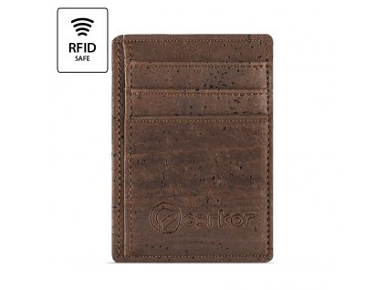 Front Pocket Cork Wallet Brown Front