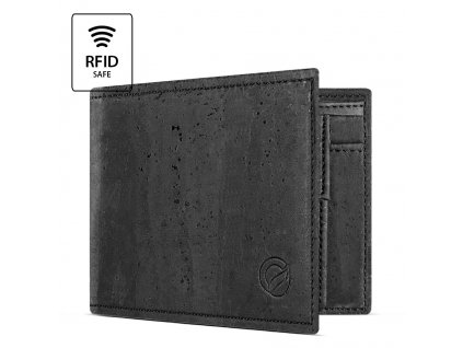 Cork Wallet With Coin Pocket Black Open