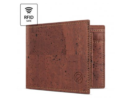 Cork Wallet With Coin Pocket Red Open