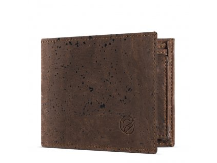 vegan passcase wallet brown open