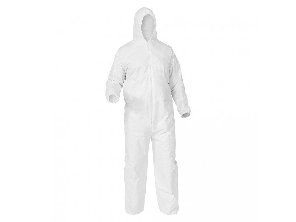 ochranny oblek biely zdravotnicky overal proti prachu a tekutinám