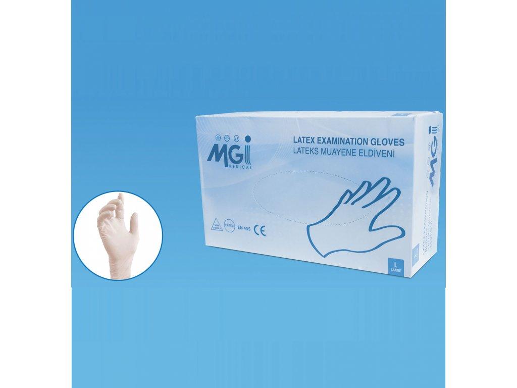 Latex gloves Rukavice sú pudrované a balené po 100 kusov.