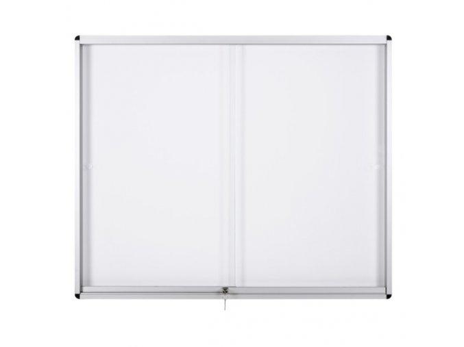 Vitrína s posuvnými dveřmi, bílá magnetická, 967 x 706 mm