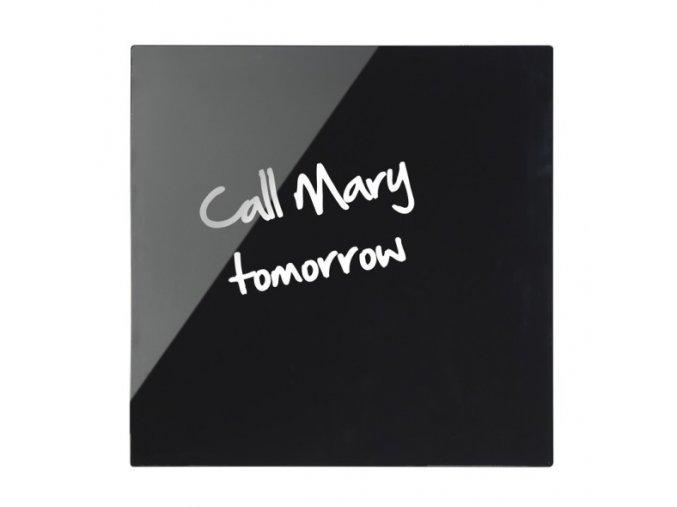 Skleněná magnetická tabule, černá, 48x48 cm