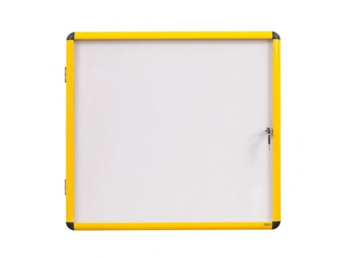 Vitrína s bílým magnetickým povrchem, žlutý rám, 720 x 981 mm (9xA4)